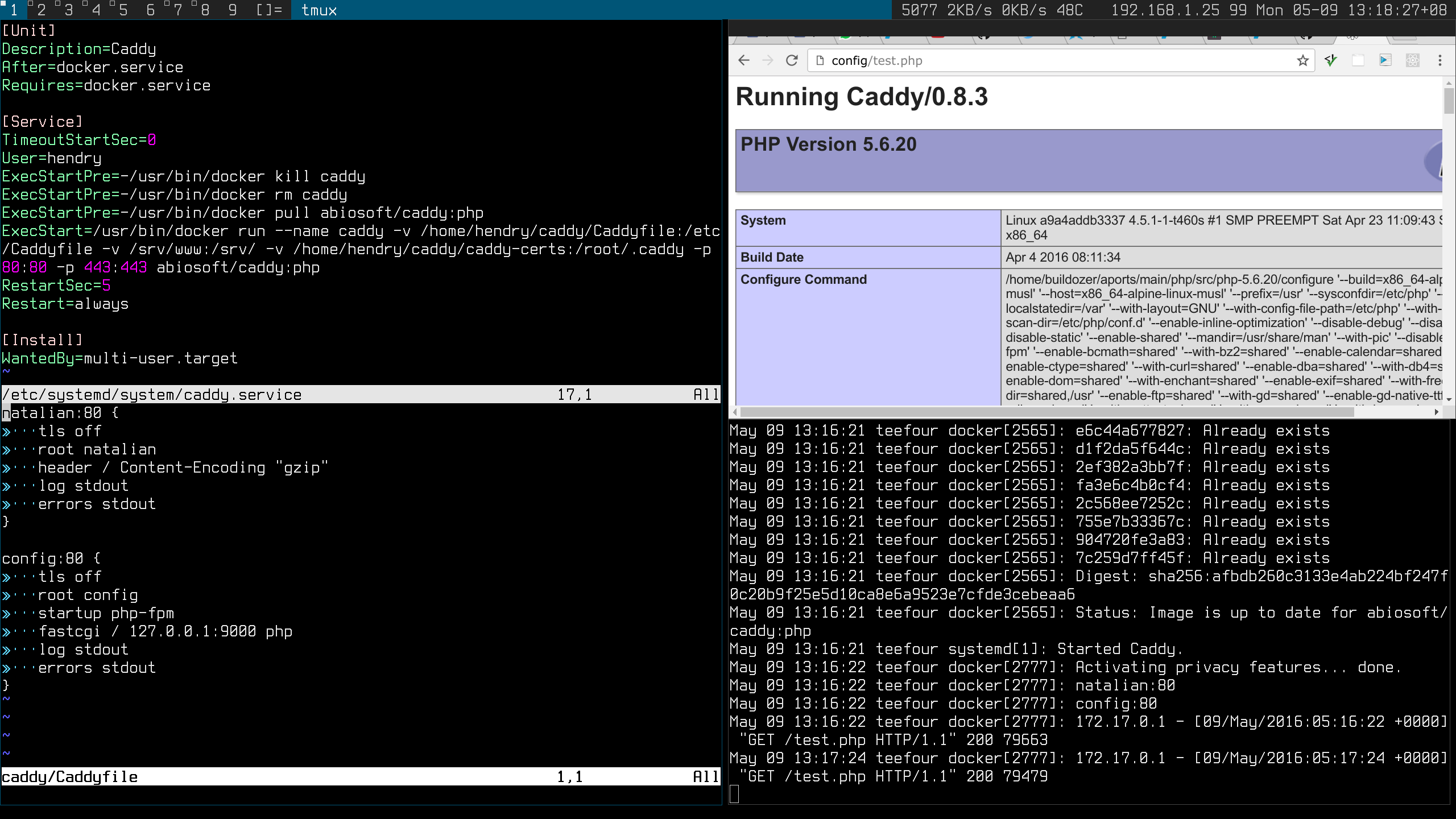Caddy running in Docker on Archlinux