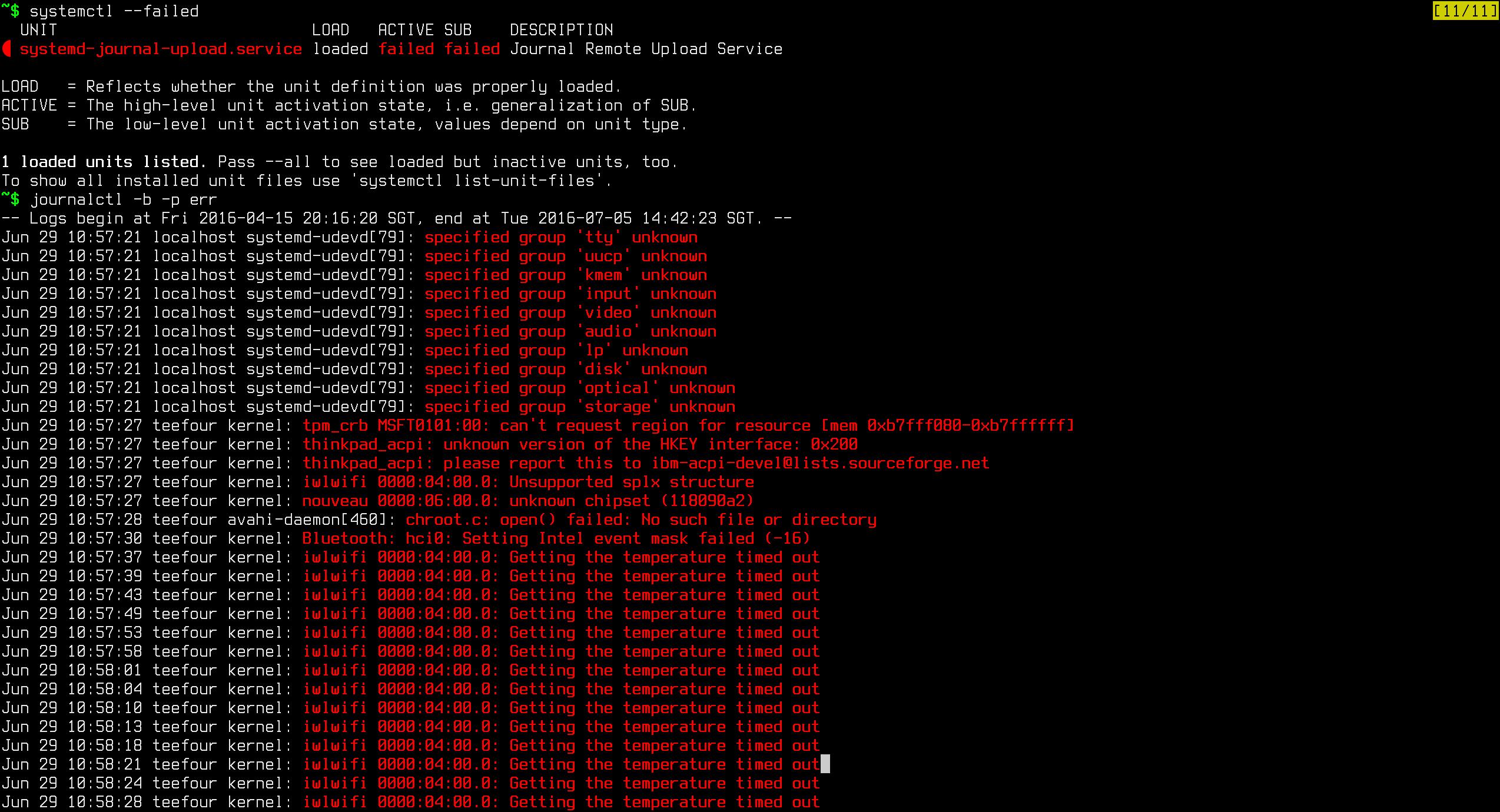 systemctl --failed
