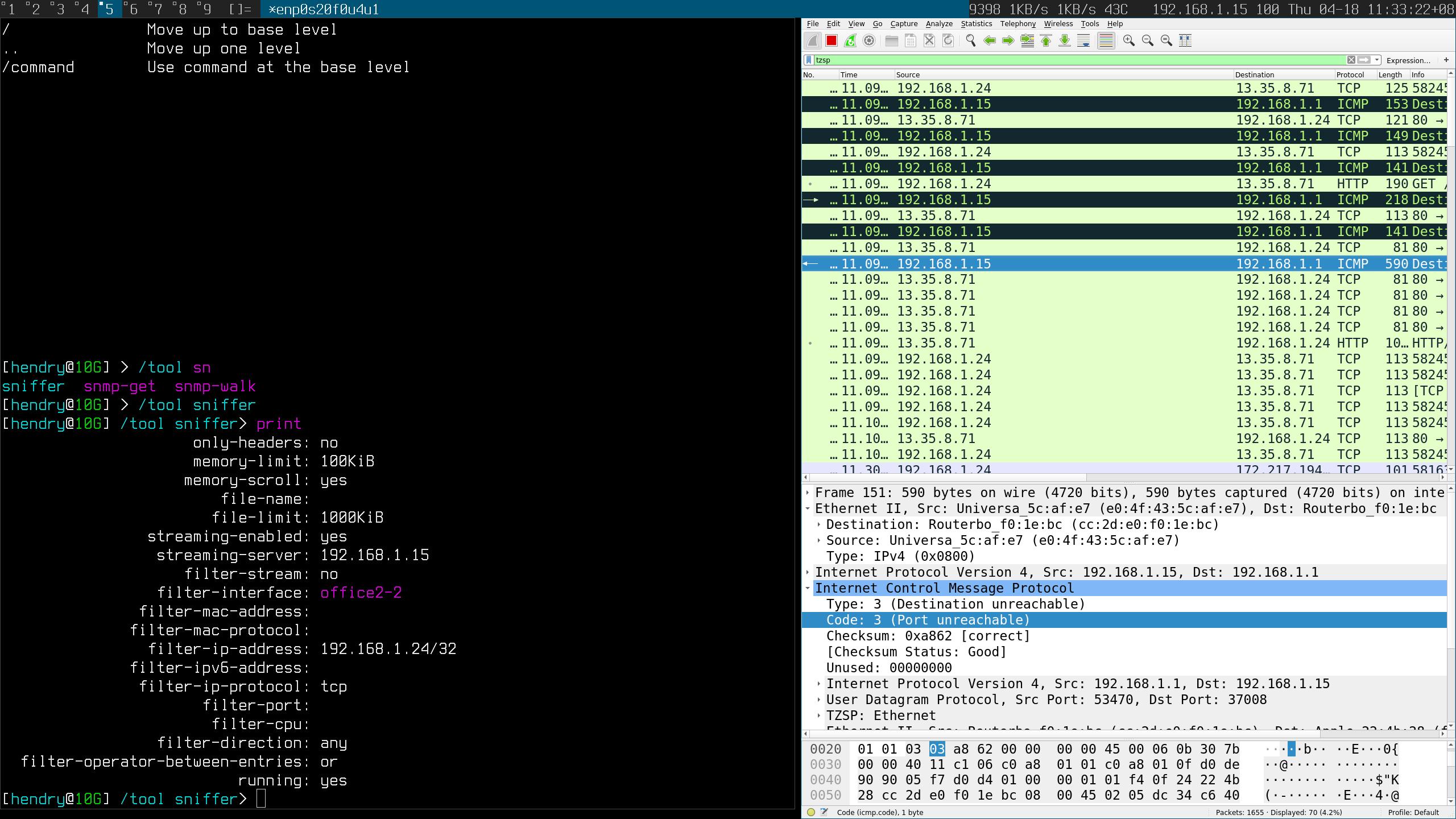tool sniffer Code: 3 (Port unreachable) - MikroTik