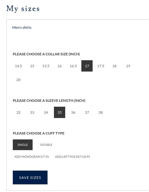 Screenshot of my store shirt size preference