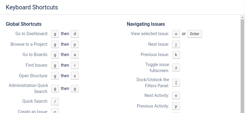 Hit ? in Jira to see shortcuts